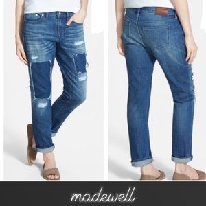 Madewell Patched Up Slim Boyjean Boyfriend Jeans